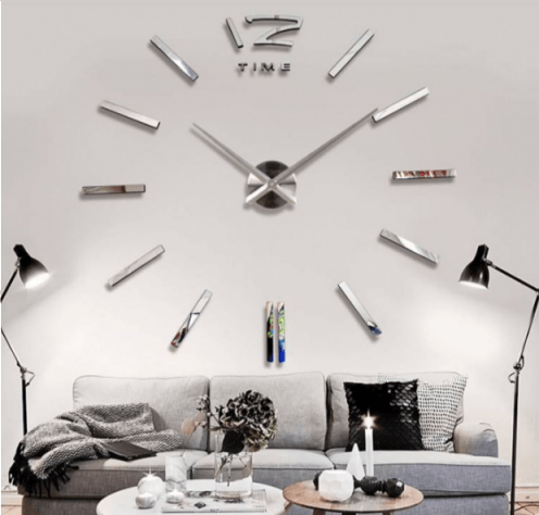 Srebrny Zegar ścienny Naklejany 3d Diy
